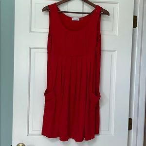 Red pleated dress w/pockets